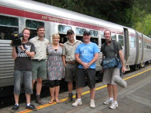 Mart, Matt, Susie, Leigh, Matt, Stien and Mr Fluffy pose at Barron Falls