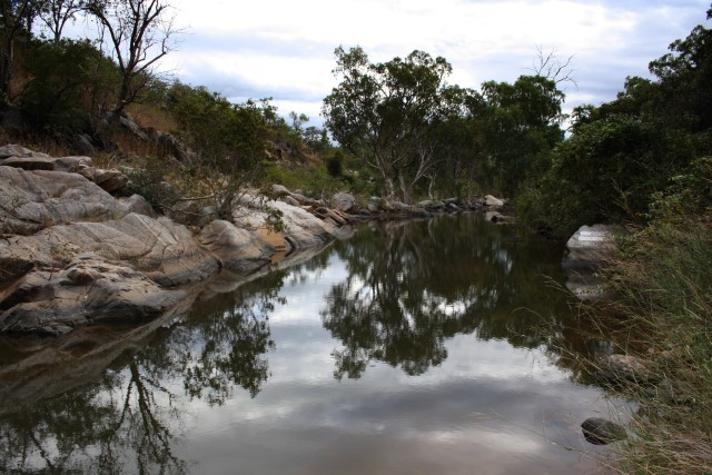 A waterhole in the Delaney River, near the 224 km peg and where the photo above was taken