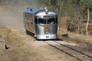 Just keeping ahead of its own dust cloud, the unit approaches Bullock Creek for morning tea
