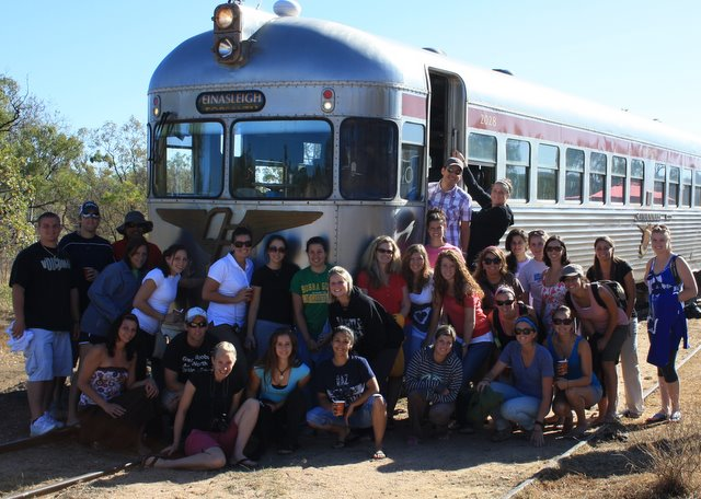 The US Students pose for a group photo at Bullock Creek
