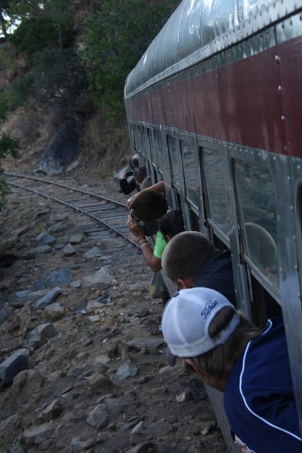 The group nearly capsize the railmotor, try to get a view of....