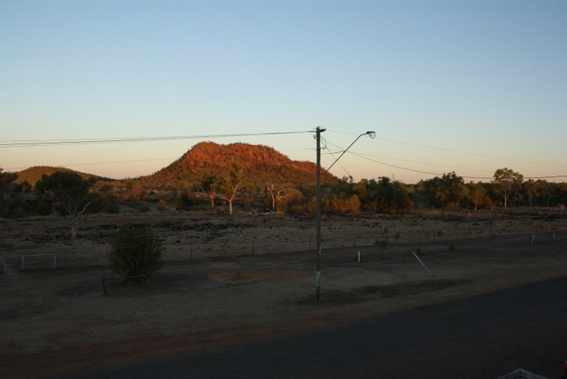 The sun sets on Red Hill, as viewed from the veranda of the pub